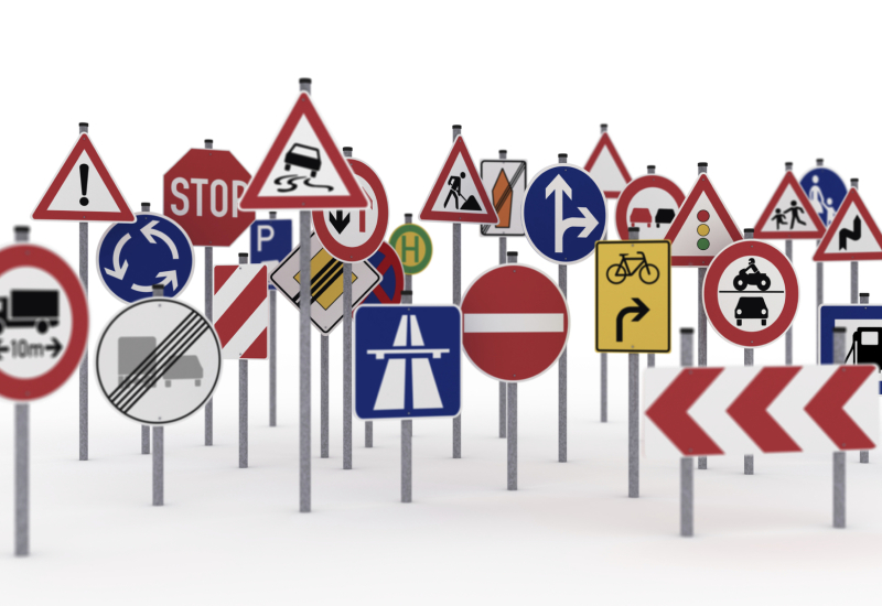 Picture of lots of different types of road signs